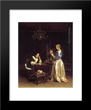 Woman Reading A Letter: Modern Black Framed Art Print by Gerard Terborch