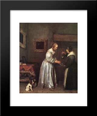 Woman Washing Hands: Modern Black Framed Art Print by Gerard Terborch
