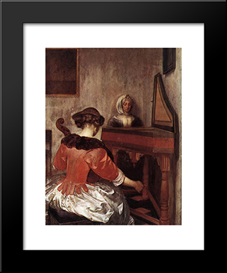 The Concert: Modern Black Framed Art Print by Gerard Terborch