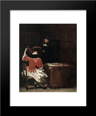 The Music Lesson: Modern Black Framed Art Print by Gerard Terborch