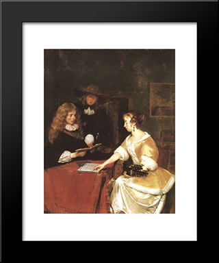 A Concert: Modern Black Framed Art Print by Gerard Terborch