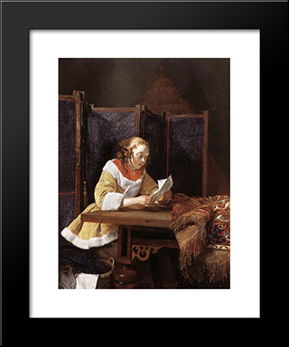 A Lady Reading A Letter: Modern Black Framed Art Print by Gerard Terborch