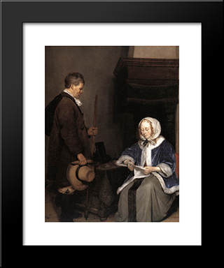 Lady Reading A Letter (Detail): Modern Black Framed Art Print by Gerard Terborch