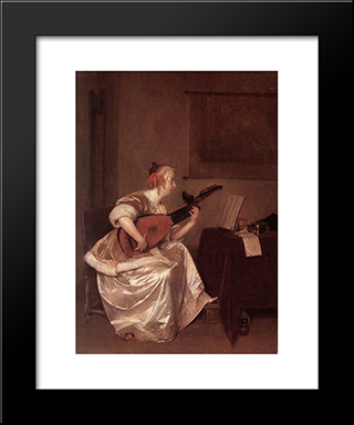 The Lute Player: Modern Black Framed Art Print by Gerard Terborch