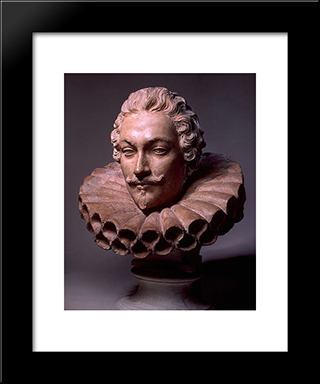Portrait Of Camillo Pamphili: Modern Black Framed Art Print by Alessandro Algardi