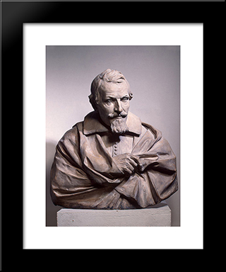 Portrait Of Gaspare Mola: Modern Black Framed Art Print by Alessandro Algardi