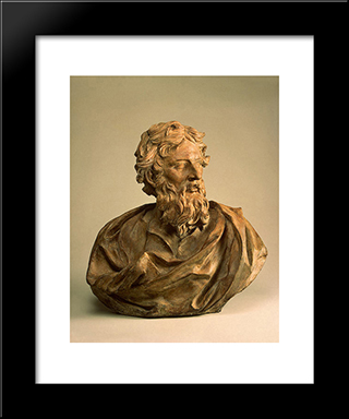 St Paul: Modern Black Framed Art Print by Alessandro Algardi