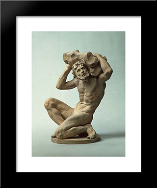 Titan: Modern Black Framed Art Print by Alessandro Algardi