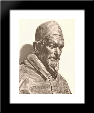 Bust Of Pope Innocent X: Modern Black Framed Art Print by Alessandro Algardi