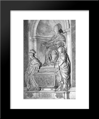 Monument Of Pope Leo Xi: Modern Black Framed Art Print by Alessandro Algardi
