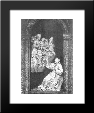 Vision Of St Nicholas: Modern Black Framed Art Print by Alessandro Algardi