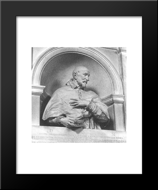 Bust Of Cardinal Giovanni Garzia Mellini: Modern Black Framed Art Print by Alessandro Algardi