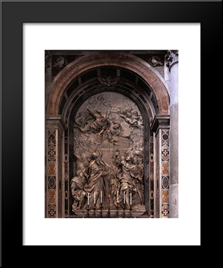 The Meeting Of Leo I And Attila: Modern Black Framed Art Print by Alessandro Algardi