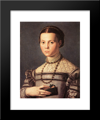 Portrait Of A Young Girl: Modern Black Framed Art Print by Agnolo Bronzino