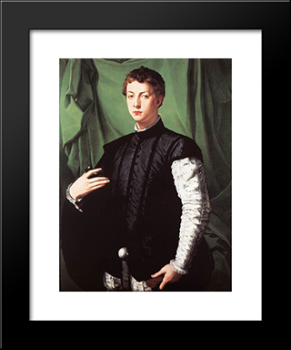 Portrait Of Ludovico Capponi: Modern Black Framed Art Print by Agnolo Bronzino