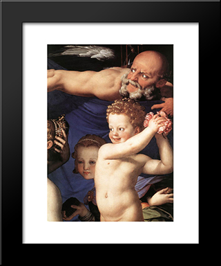Venus, Cupide And The Time [Detail]: Modern Black Framed Art Print by Agnolo Bronzino