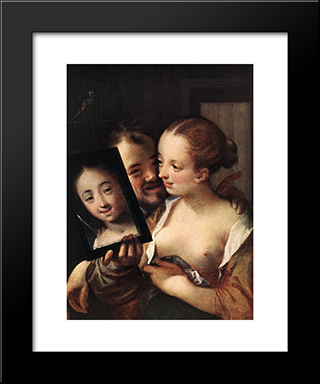Joking Couple: Modern Black Framed Art Print by Hans von Aachen
