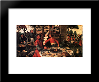 Peasant'S Feast: Modern Black Framed Art Print by Pieter Aertsen