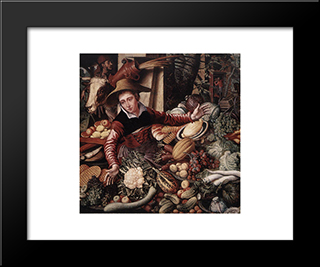 Vendor Of Vegetable: Modern Black Framed Art Print by Pieter Aertsen