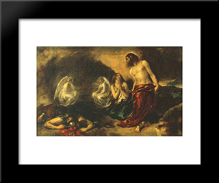 Christ Appearing To Mary Magdalene After The Resurrection: Modern Black Framed Art Print by William Etty