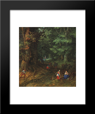 Rest On The Flight To Egypt [Detail: 1]: Modern Black Framed Art Print by Jan the Elder Brueghel