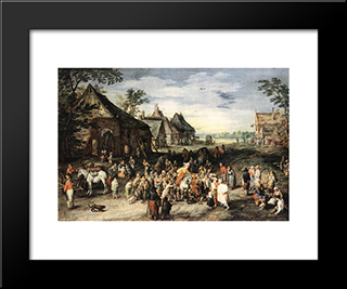St Martin: Modern Black Framed Art Print by Jan the Elder Brueghel