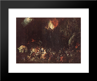 Temptation Of St Anthony: Modern Black Framed Art Print by Jan the Elder Brueghel