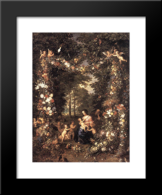 The Holy Family: Modern Black Framed Art Print by Jan the Elder Brueghel