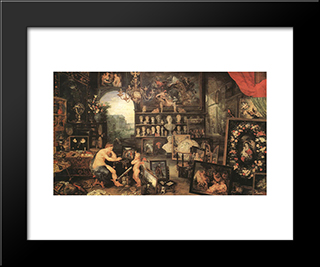 The Sense Of Sight: Modern Black Framed Art Print by Jan the Elder Brueghel