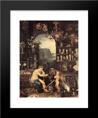 The Sense Of Sight [Detail: 1]: Modern Black Framed Art Print by Jan the Elder Brueghel
