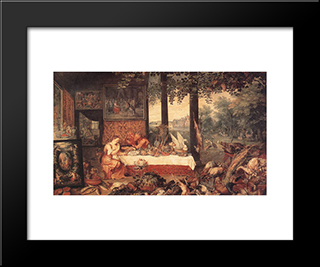 The Sense Of Taste: Modern Black Framed Art Print by Jan the Elder Brueghel