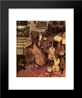 The Sense Of Hearing [Detail: 1]: Modern Black Framed Art Print by Jan the Elder Brueghel