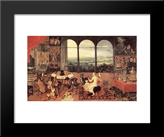 The Sense Of Hearing: Modern Black Framed Art Print by Jan the Elder Brueghel