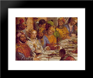 The Marriage At Cana [Detail: 1]: Modern Black Framed Art Print by Paolo Veronese