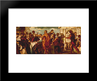 The Marriage At Cana: Modern Black Framed Art Print by Paolo Veronese