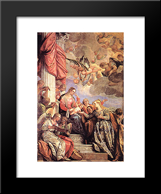 The Marriage Of St Catherine: Modern Black Framed Art Print by Paolo Veronese