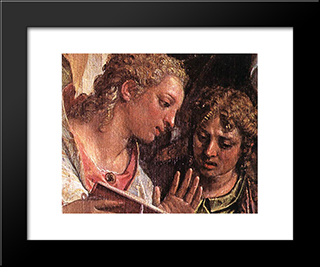 The Marriage Of St Catherine [Detail: 1]: Modern Black Framed Art Print by Paolo Veronese