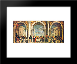 Feast In The House Of Levi: Modern Black Framed Art Print by Paolo Veronese