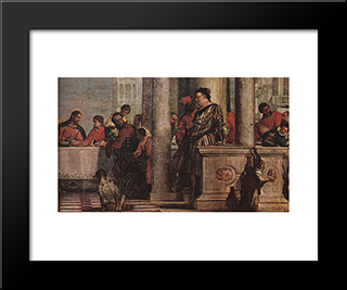 Feast In The House Of Levi [Detail: 1]: Modern Black Framed Art Print by Paolo Veronese