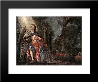 Christ In The Garden Supported By An Angel: Modern Black Framed Art Print by Paolo Veronese