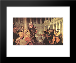Jesus Among The Doctors In The Temple: Modern Black Framed Art Print by Paolo Veronese