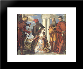The Martyrdom Of St. Justine: Modern Black Framed Art Print by Paolo Veronese