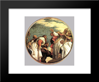 The People Of Myra Welcoming St. Nicholas: Modern Black Framed Art Print by Paolo Veronese