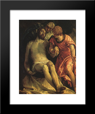 Pieta: Modern Black Framed Art Print by Paolo Veronese