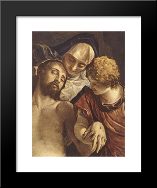 Pieta [Detail: 1]: Modern Black Framed Art Print by Paolo Veronese