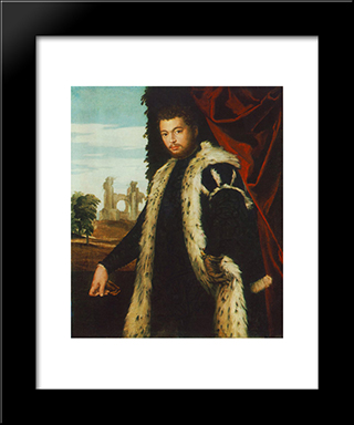 Portrait Of A Man: Modern Black Framed Art Print by Paolo Veronese