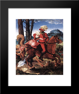 The Knight, The Young Girl, And Death: Modern Black Framed Art Print by Hans Baldung