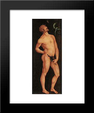 Adam: Modern Black Framed Art Print by Hans Baldung