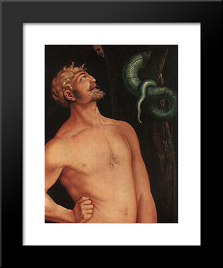 Adam (Detail): Modern Black Framed Art Print by Hans Baldung