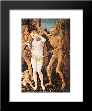 Three Ages Of The Woman And The Death: Modern Black Framed Art Print by Hans Baldung